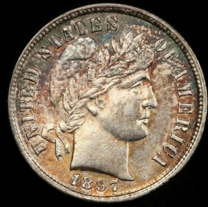 1897 BU UNCIRCULATED BARBER DIME VERY NICE TONED BARBER DIME   COLORFUL