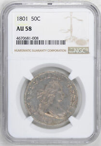 Click now to see the BUY IT NOW Price! 1801 DRAPED BUST 50C NGC AU 58