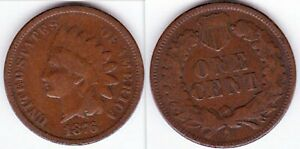 1876 INDIAN HEAD BRONZE PENNY GREAT FOR 19TH CENTURY TYPE SET