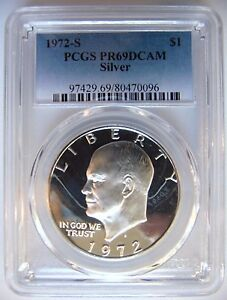 1972 S EISENHOWER IKE PCGS PR 69 CAMEO SILVER DOLLAR PROOF DMPL PL DEEP MIRRORS