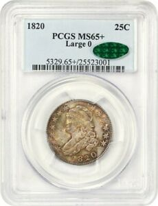 Click now to see the BUY IT NOW Price! 1820 25C PCGS/CAC MS65   LARGE 0  DRAPED BUST QUARTER   BEAUTIFULLY ORIGINAL