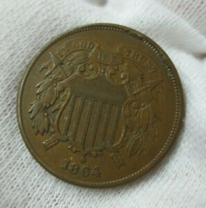 1864  LARGE MOTTO  TWO CENT PIECE AU  OBV CUD   A