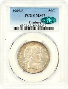 Click now to see the BUY IT NOW Price! 1905 S 50C PCGS/CAC MS67 EX: ELIASBERG   BEAUTIFUL RIM TONING