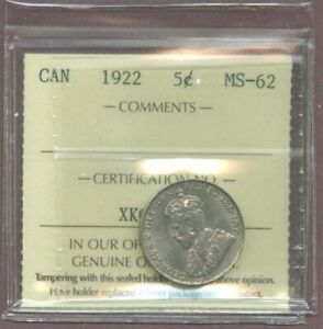R3470.CANADA 1922 FIVE CENTS 5 ICCS MS 62 WAS $100