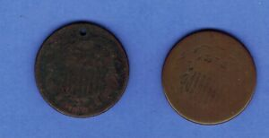 186? 2 ROUGH  2 CENT PIECE  TYPE   US COINS