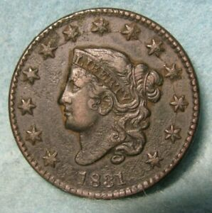 1831 CORONET HEAD LARGE CENT CUD REVERSE CHOICE XF  DETAILS   UNITED STATES COIN