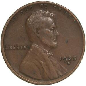 1925 D LINCOLN WHEAT CENT CORROSION SPOTS FULL WHEAT STALKS SEE PHOTOS A935