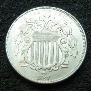 1867 SHIELD NICKEL NO RAYS GORGEOUS COIN  HIGHER GRADE AU