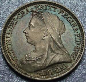 1897 GREAT BRITAIN SILVER MAUNDY 2 PENCE VICTORIA >ONLY 11 000 MADE PRETTY COLOR