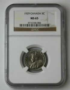 Click now to see the BUY IT NOW Price! 1929 CANADA SILVER 5 CENT GEORGIVS V ET NGC MS 65 90262JR