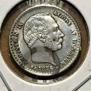 Click now to see the BUY IT NOW Price! 1874 H  CS DENMARK 10 ORE COIN SILVER CHRISTIAN IX KM 795.1 XF