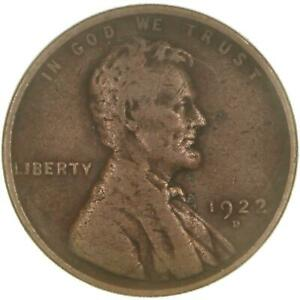 1922 D LINCOLN WHEAT CENT STRONG REVERSE GOOD PENNY GD SEE PHOTOS B762