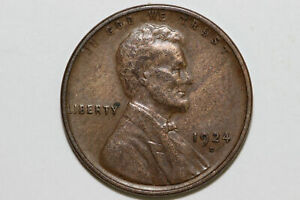 1924 D FINE BRONZE WHEAT REVERSE LINCOLN SMALL CENT COIN  LPX953