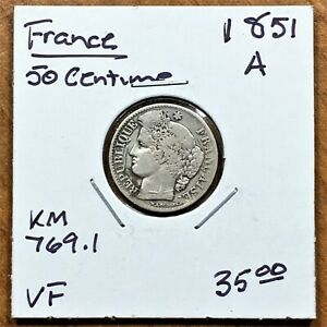 Click now to see the BUY IT NOW Price! 1851 A FRANCE 50 CENTIMES COIN SILVER LOW MINTAGE KM 769.1 VF