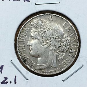 Click now to see the BUY IT NOW Price! 1887 A FRANCE 1 FRANC COIN SILVER LOW MINTAGE KM 822.1 XF