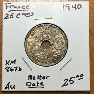 Click now to see the BUY IT NOW Price! 1940 FRANCE 25 CENTIMES COIN KM 867B BETTER DATE AU