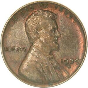 1939 D LINCOLN WHEAT CENT ABOUT UNCIRCULATED PENNY AU