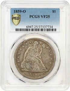 1859 O $1 PCGS VF25   POPULAR O MINT   LIBERTY SEATED DOLLAR   POPULAR O MINT