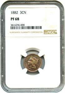 1882 3CN NGC PR 68   BEAUTIFUL TONING    3 CENT NICKEL   BEAUTIFUL TONING