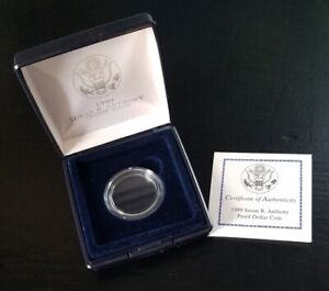 1999 SUSAN B ANTHONY PROOF DOLLAR CASE W/CAPSULE & COA   NO COINS