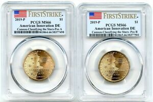 2019 P AMERICAN INNOVATION DOLLAR DELAWARE 2 COIN PCGS MS66 POS AB FIRST STRIKE
