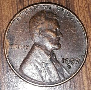 1957 D WHEAT PENNY ERROR FILLED B AND FILLED 5 DIE CHIP
