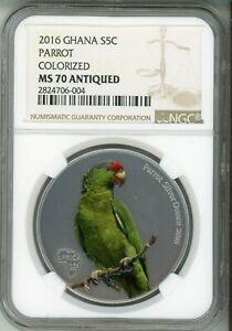 Click now to see the BUY IT NOW Price! 2016 GHANA 5 CEDIS   PARROT   COLORIZED   ANTIQUED  NGC MS 70   TOP POP
