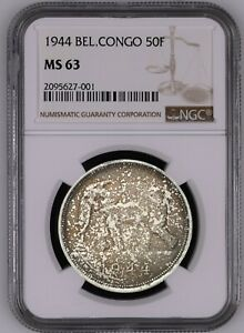 Click now to see the BUY IT NOW Price! BELGIAN CONGO SILVER 50 FRANCS 1944 KM 27 NGC MS63 AMAZING TONING UNCIRCULATED