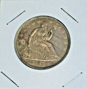 1858 P SEATED LIBERTY SILVER HALF DOLLAR   XF AU CONDITION  A GREAT TYPE COIN