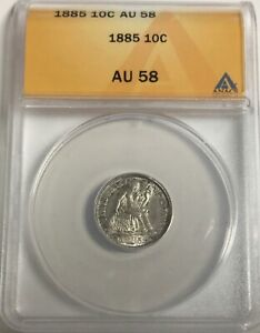 1885 DIME  PLEASING COIN NICE COLOUR  LUSTRE GREAT FOR TYPE SET ANACS AU58