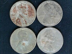 1943 STEEL LINCOLN WHEAT CENTS   LOT OF 4 PENNIES GOOD COND.