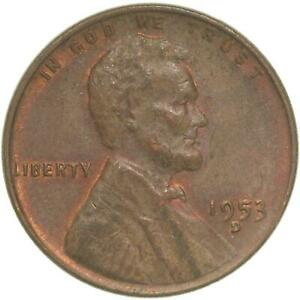 1953 D LINCOLN WHEAT CENT ABOUT UNCIRCULATED PENNY AU