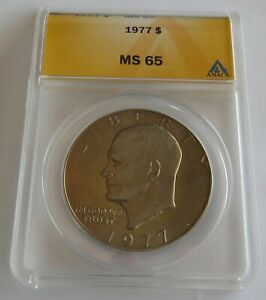 1977 UNCIRCULATED EISENHOWER DOLLAR   ANACS CERTIFIED MS 65