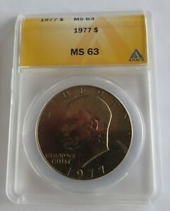 1977 UNCIRCULATED EISENHOWER DOLLAR   ANACS CERTIFIED MS 63
