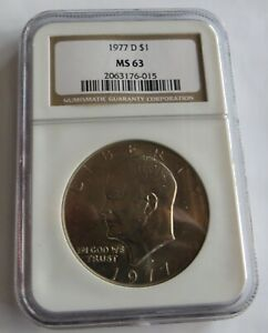 1977 D UNCIRCULATED EISENHOWER DOLLAR   NGC CERTIFIED MS 63