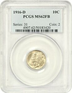 Click now to see the BUY IT NOW Price! 1916 D 10C PCGS MS62 FB   RARITY IN FULL BANDS   MERCURY DIME