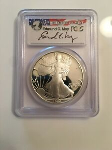 1990 S $1 PROOF SILVER EAGLE COIN PCGS PR69 DCAM    EDMUND MOY SIGNED