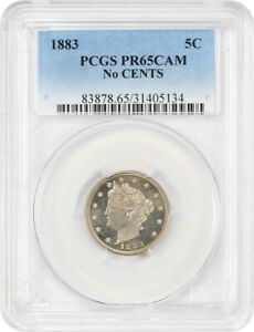 1883 5C PCGS PR 65 CAM  NO CENTS  POPULAR ONE YEAR TYPE COIN   LIBERTY V NICKEL