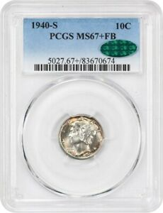 Click now to see the BUY IT NOW Price! 1940 S 10C PCGS/CAC MS67  FB   BEAUTIFUL    MERCURY DIME   BEAUTIFUL