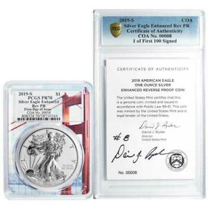 Click now to see the BUY IT NOW Price! 2019 S ENHANCED REVERSE PROOF $1 AMERICAN SILVER EAGLE / COA 00008 SIGNED PCGS