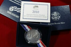 2010 AMERICAN VETERANS  DISABLED FOR LIFE UNC. SILVER DOLLAR  PACKAGE & COA