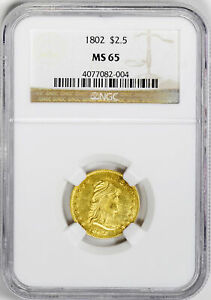 Click now to see the BUY IT NOW Price! 1802/1 DRAPED BUST $2 1/2 NGC MS 65