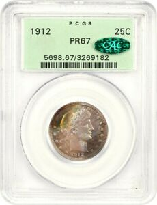 Click now to see the BUY IT NOW Price! 1912 25C PCGS/CAC PR 67  OGH  OLD GREEN PCGS HOLDER   BARBER QUARTER