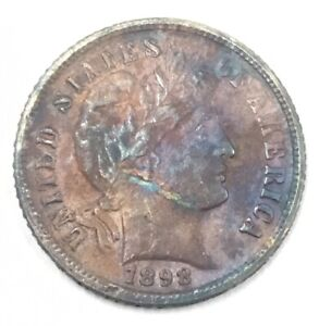 1898 S BARBER DIME UNGRADED BU SEA SALVAGE DETAILS B6