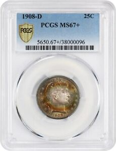 Click now to see the BUY IT NOW Price! 1908 D 25C PCGS MS67  BEAUTIFUL RAINBOW TONING   BARBER QUARTER