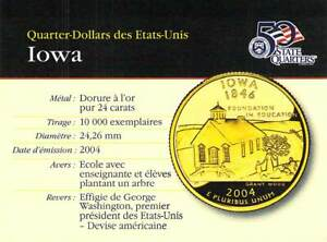 QUARTER DOLLAR 2004 IOWA GOLD END 24 CARAT