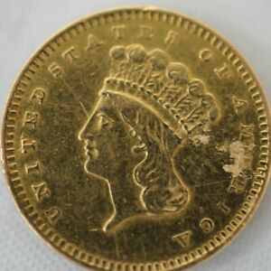 1856 INDIAN PRINCESS DOLLAR GOLD COIN  G$1    JEWELRY DAMAGE  2