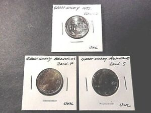 2014  AMERICA THE BEAUTIFUL QUARTERS GREAT SMOKY MTS.. SET OF 3 P D S UNC COND.