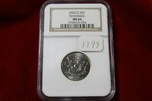 2002 D TENNESSEE  NGC GRADED MS 66 UNITED STATES STATEHOOD QUARTER