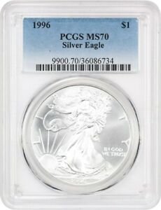 Click now to see the BUY IT NOW Price! 1996 SILVER EAGLE $1 PCGS MS70   AMERICAN EAGLE SILVER DOLLAR ASE